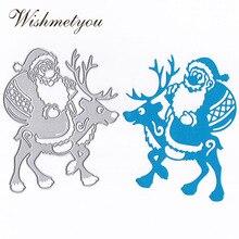 WISHMETYOU Riding A Deer Santa Claus Christmas Metal Cutting Dies Gift Scrapbook DIY Crafts Clip Template Style