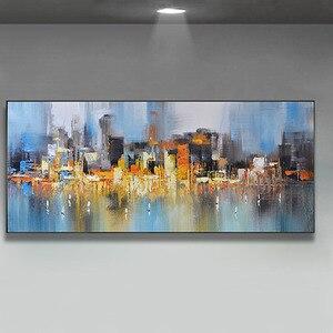 Image 4 - Decoración de la boda pintado a mano pintura al óleo sobre lienzo moderno de gran tamaño Arte Abstracto Decoración de casa colgar de la ciudad lluviosa construir