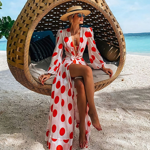 Beach Dress 2020 Bikini Cover Up Print Bathing Suit Women Kimono Plus Size Tunic Sexy Long Sleeve Swimwear Cover-Ups