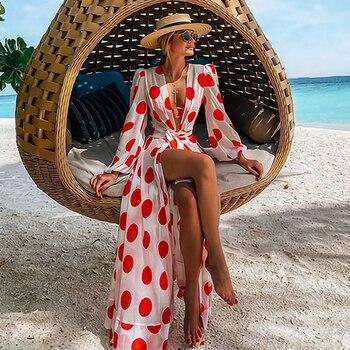 Robe De Plage 2020 Bikini Couvrir Impression Maillot De Bain Femmes Kimono Tunique De Grande Taille Sexy à Manches Longues Maillot De Bain-Ups