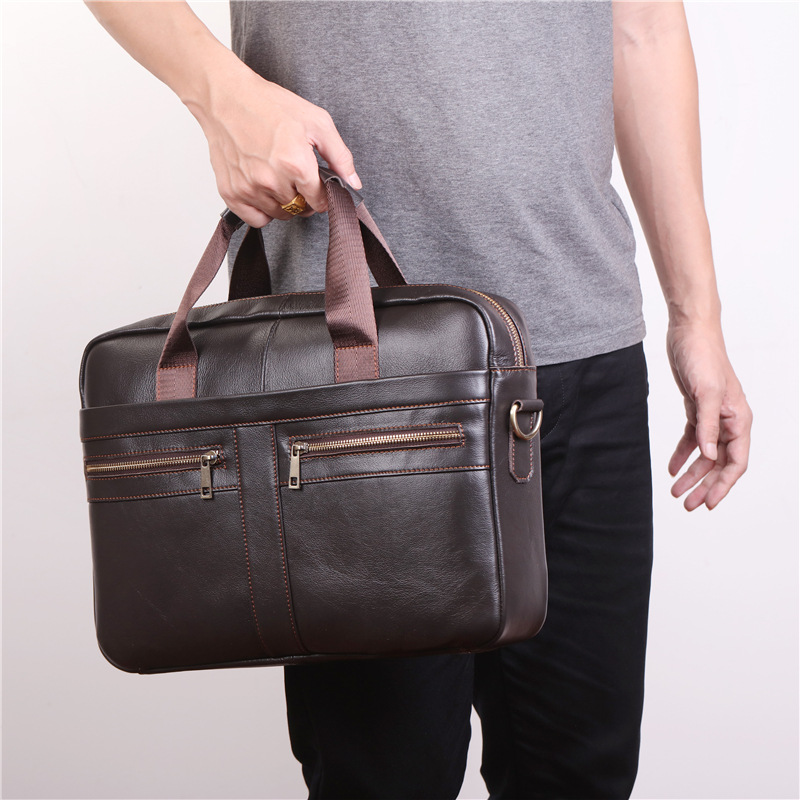 Nesitu New Coffee 100% Genuine Leather 14'' Laptop Office Men's Briefcase Portfolio Handbag Business Shoulder Messenger Bags M11