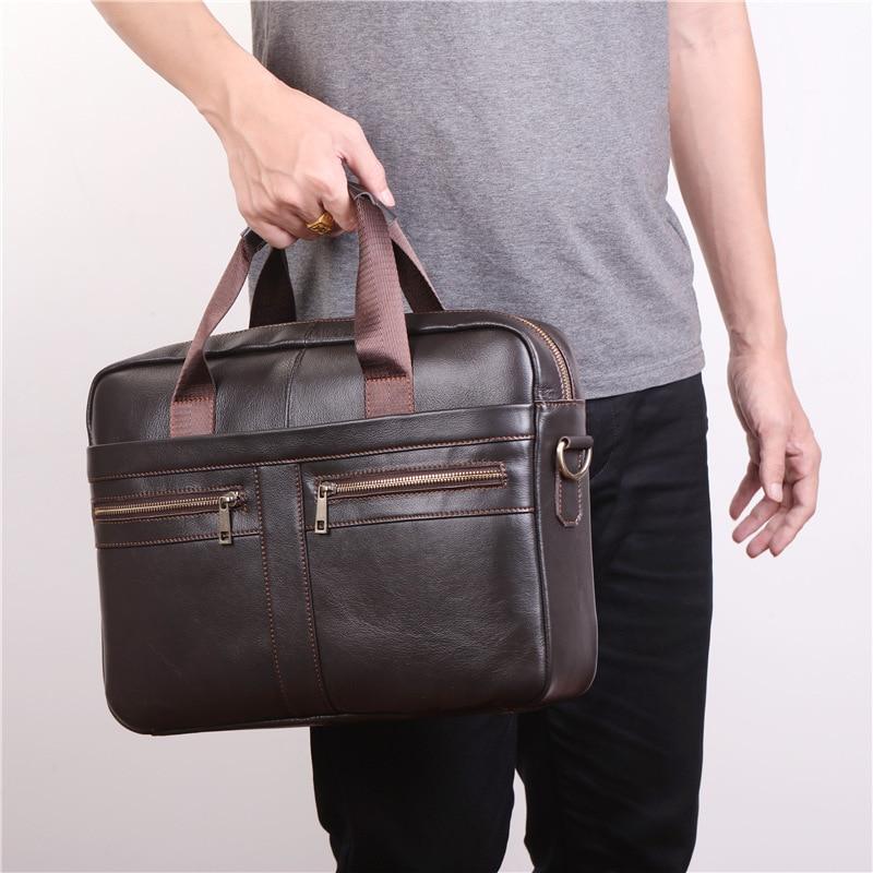 Nesitu New Coffee 100% Genuine Leather 14'' Laptop Office Men's Briefcase Portfolio Handbag Business Shoulder Messenger Bags M11