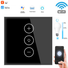 Wifi quente aplicativo inteligente sensor remoto led dimmer interruptor de luz regulável parede toque dimmer módulo do painel vidro remoto padrão da ue interruptor