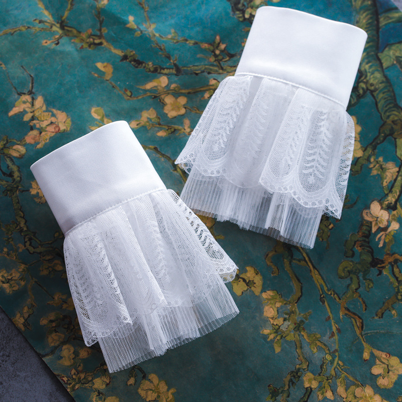 2pcs/pair Women Girl Lace Fake Cuff Big Wave Hollow Out Sleeves  Ladies Sunscreen Fake Collar Horn Fake Long