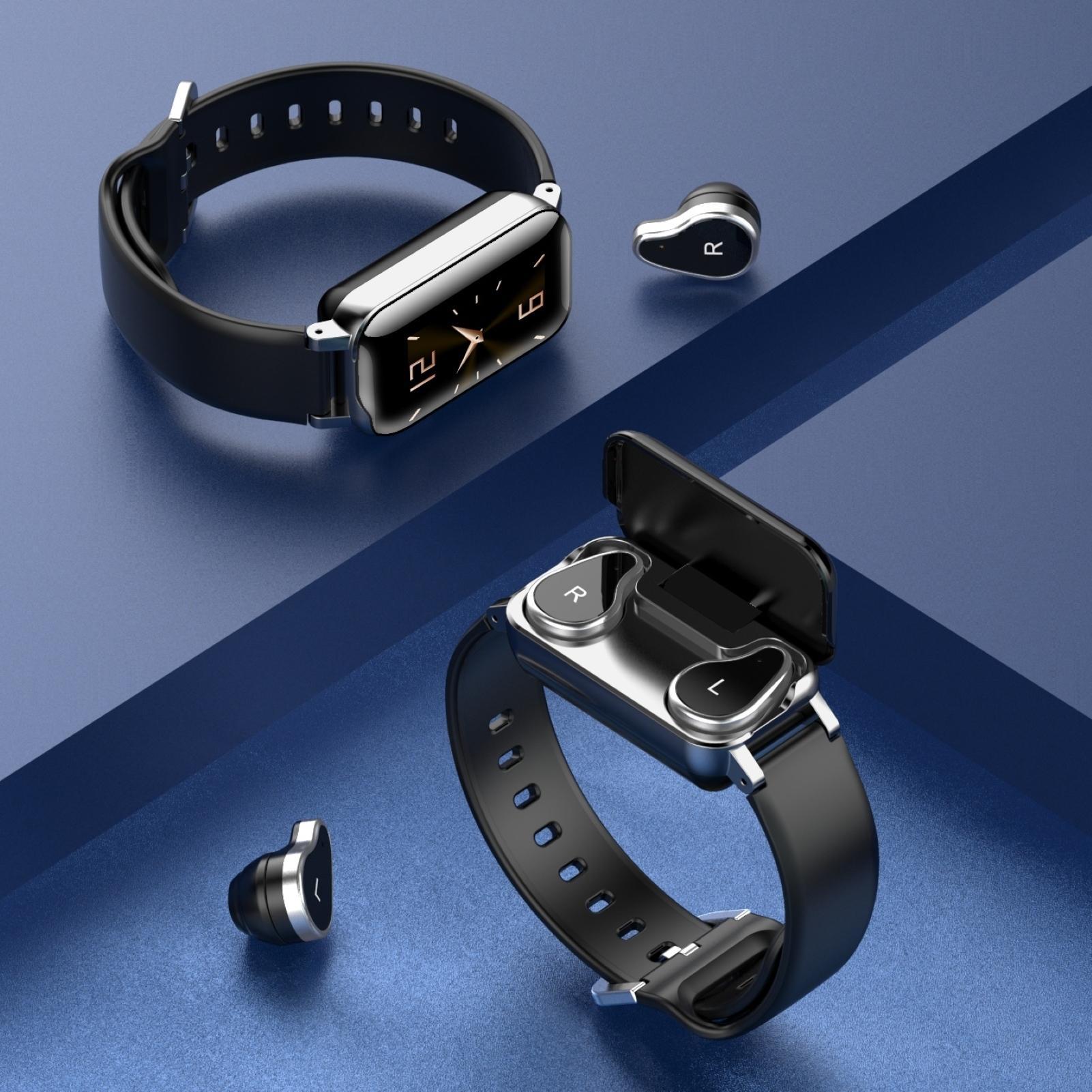 Беспроводные наушники, наушники, умные часы с сенсорным управлением, Bluetooth-гарнитура, спортивный фитнес-браслет, многофункциональные наушн...