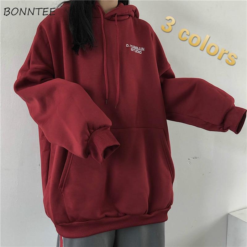 Hoodies Women Plus Velvet Warm Hooded Letter Oversize Big Pocket BF Loose Streetwear Casual Unisex Harajuku Kpop Chic Fashion
