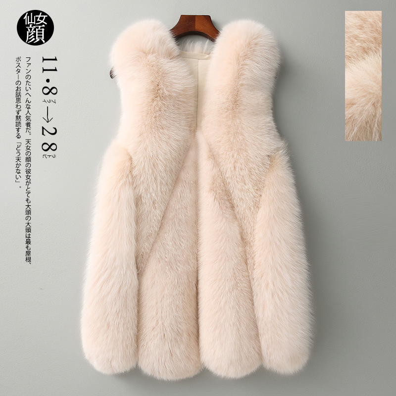 Autumn Winter Imitation Fox Faux Fur Grass Vest Female Middle Long Slim Korean Vest Fur Furry Teddy Bear Coat  Shaggy Jacket