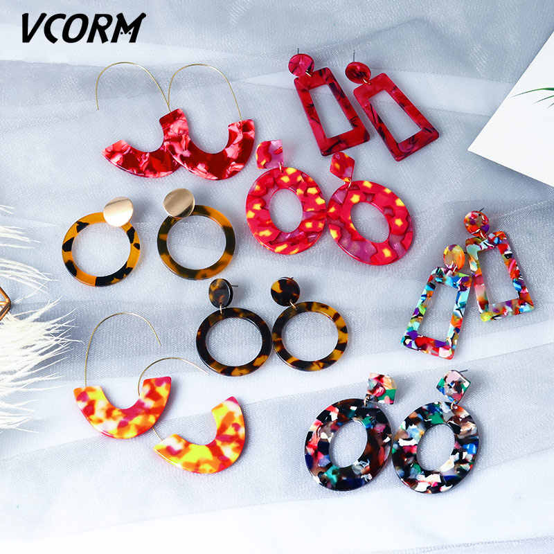VCORM ใหม่เกาหลีอะคริลิคต่างหูสำหรับผู้หญิง 2019 เครื่องประดับแฟชั่นเรซิ่นเสือดาว Dangle ต่างหู Bohemian Preferred ของขวัญ