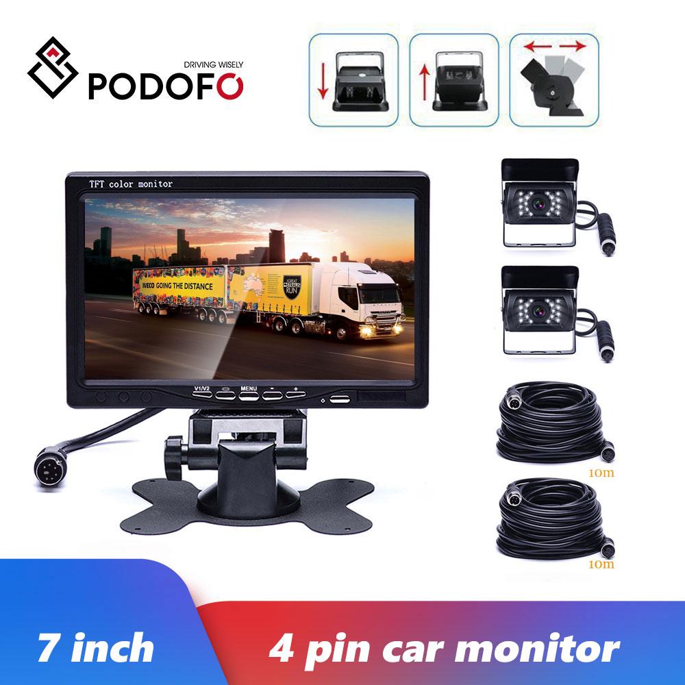 Podofo 7 Inch 12V-24V TFT LCD Car Monitor Rear View Display Waterproof 4pin IR Night Vision Reversing Backup Rear View Camera