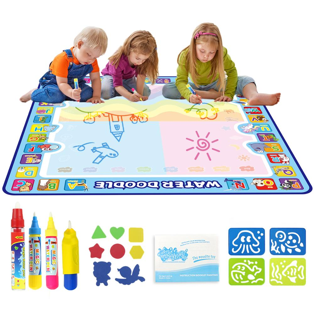 Coolplay 100x100cm Magic Water Drawing Mat Doodle Mat & 4 Drawing Pens & 1 Stamps Set Painting Board Educational Toys for Kids(China)