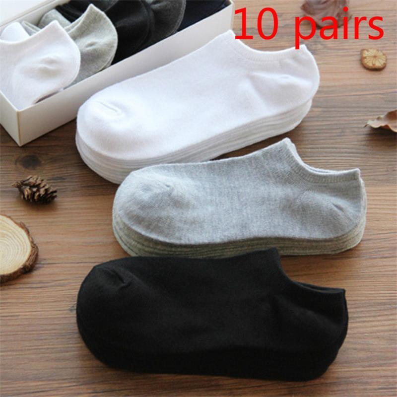 10 pares/lote homens meias de algodão grande size38-44High qualidade casual respirável barco meias curtas masculino verão