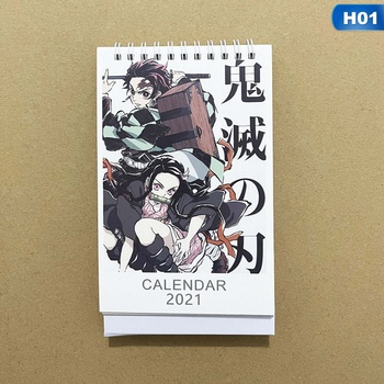 2021 Anime Demon Slayer Kimetsu No Yaiba Desk Calendar Kamado Tanjirou Cartoon Figure Desk Calendars Daily Schedule Planner 1PC 1
