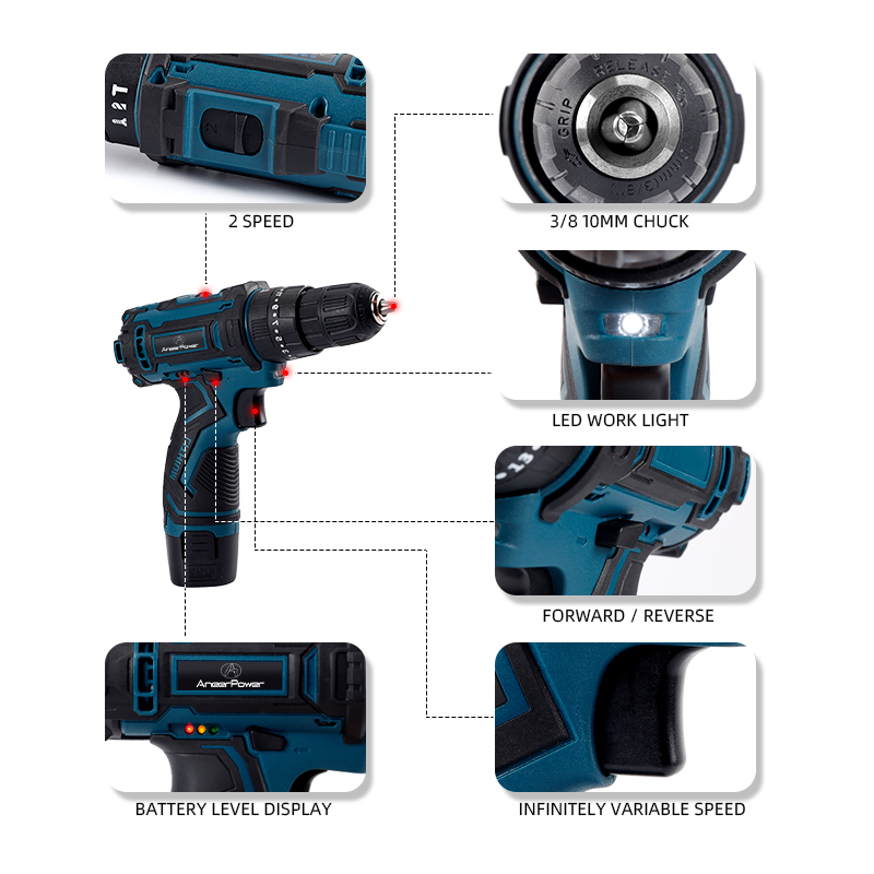 Cordless 12V Battery Screwdriver Functions Waterproof Lithium Rubber Soft Charging Hand Drill Impact Comfortable Handle 3 Drill