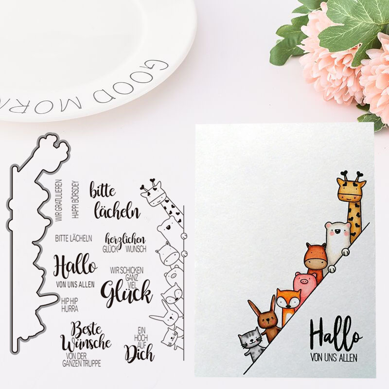 Metal Cutting Dies and Rubber Stamps for Scrapbooking Hello Animals on the Step Craft Decoration Card Making Stencil Album Sheet in Cutting Dies from Home Garden