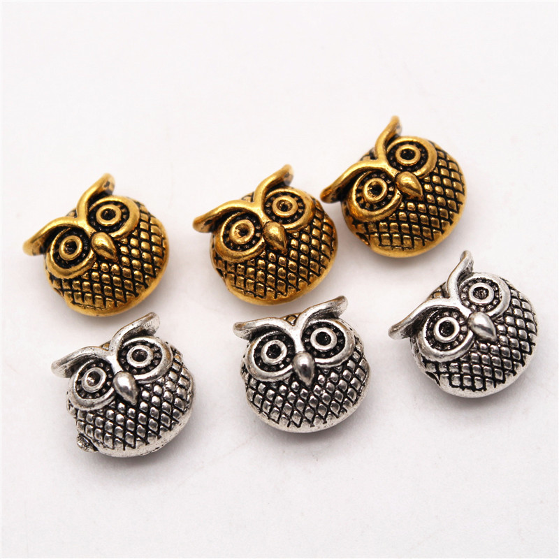 20pcs Assorted Mixed Lion Owl Head Beads Loose Spacer Beads Jewelry DIY Findings