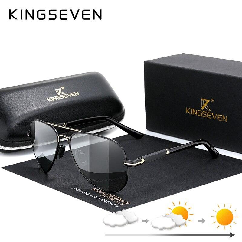 KINGSEVEN 2020 gafas de sol de marca de diseño fotocromáticas y polarizadas, lentes antideslumbrantes para hombres, gafas para conducir, gafas de espejo N7230