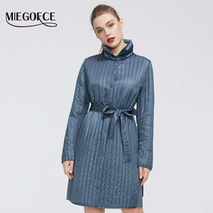 Miegofce 2020 Nieuwe Lente Collectie Warm Katoen Vrouwen Jas High-Medium-Kwaliteit Langdurige Kraag Met Riem Vrouwen warme Jas(China)