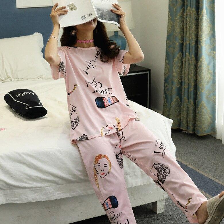 Summer Pajamas WOMEN'S Short Sleeved Trousers Set Powder Head M-XXL (13 Yuan) 110 Grams 2019 New Style
