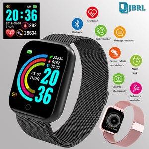 Image 1 - Mode Stahl Smart Uhr Männer Frauen Bluetooth Smartwatch Damen Fitness Armband Herz Rate Android IOS Telefon Herren Smart uhr