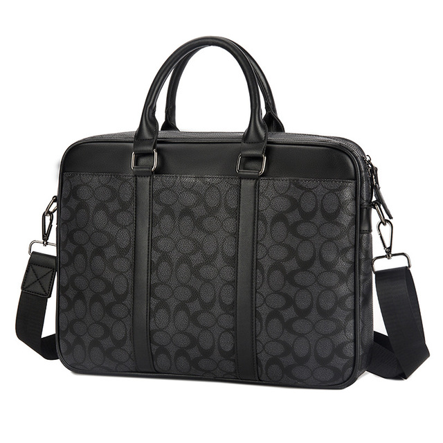 2019 New Briefcase Men's Handbags Tide Business Old Chess Board Black Computer Bag Men's Bag Leather Shoulder Plaid Bag