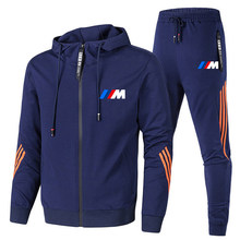 Men's zipper suit, men's sportswear, two-piece stripe, outdoor sports hooded pants, track and field suit, spring and autumn 2021