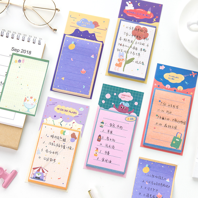 Mohamm 30 Sheets List Planner Stickers Notes Notes Memo Pad Cute Korean Stationery Office School Supplies