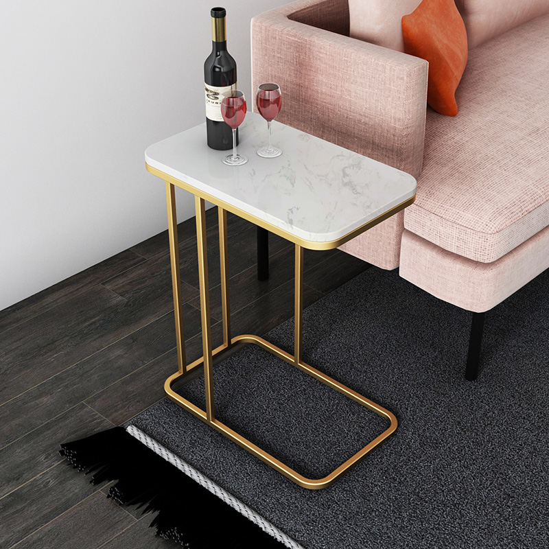 Nordic Light Luxury Side Bed Table Wrought Iron Sofa Corner Several Small Coffee Table Side Cabinet Marble Square Bed