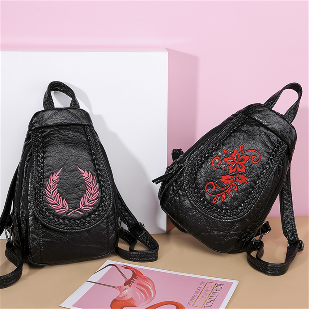 Image 2 - New Winter 3 in 1 Women Backpack Ladies Casual Embroidery Flowers Chest Bag Washed Soft Leather Women Shouldr Bag Mochila MujerBackpacks   -