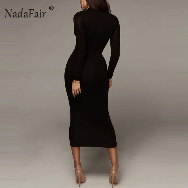 Nadafair Basic Black Maxi Bodycon Dress 2020 Autumn Stretchy Long Sleeve Turtleneck Dress Winter White Party Dresses Women Red