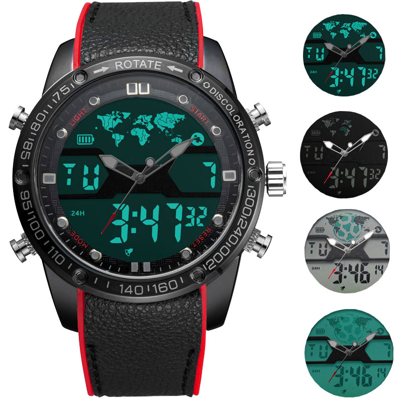 BOAMIGO Mens Watches Men Sports Watches Men's Quartz LED Electronic Digital Analog Clock Male Military Wrist Watch Waterproof
