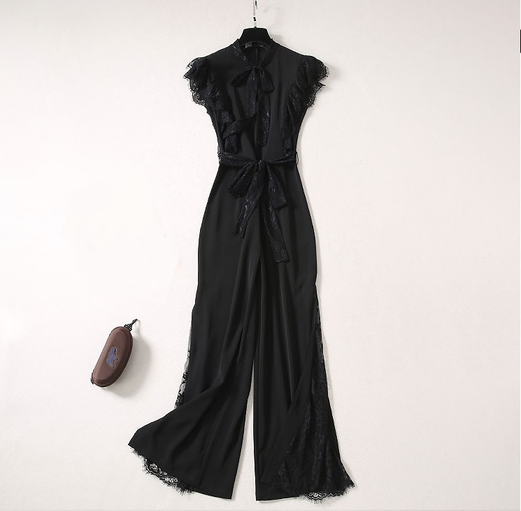 Women Jumpsuit 2020 Summer Black Lace Ruffles Sleeve Bow Collar Runway Designer Wide Leg Rompers Overalls Sexy Jumpsuits