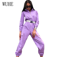 WUHE Women Casual Go Out Sport Overalls Purple Playsuit with Belt for Femme Fashion New Zipper Half Stand Neck Pocket Jumpsuits