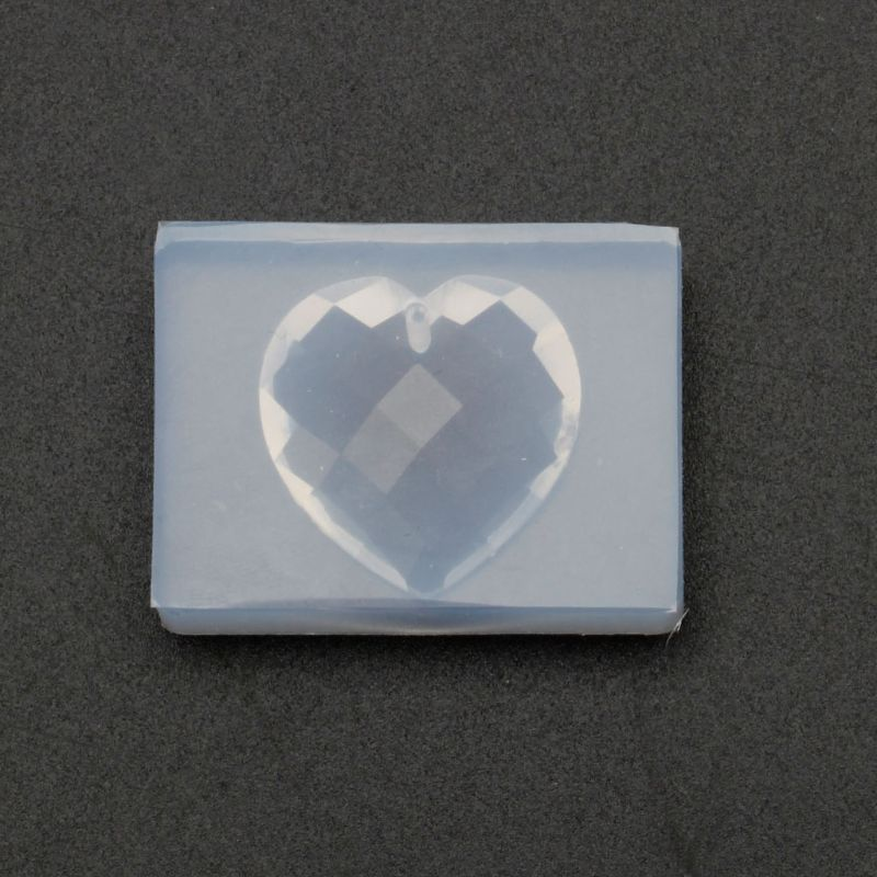 Faceted Heart Shape Pendant With Hanger Hole Resin Mold Jewelry Making Tools