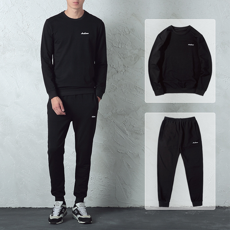 Cotton Hoodie Suit Men's Korean-style Trend Leisure Sports Suit Men Autumn Clothing Logo