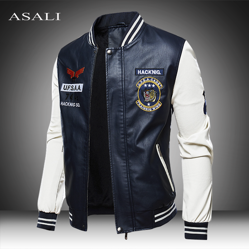 2020 Leather Jacket Men Bomber Baseball Jacket Biker Pu Coat Faux Pilot Fleece College Top Leather Black Slim Fit Motorcycle