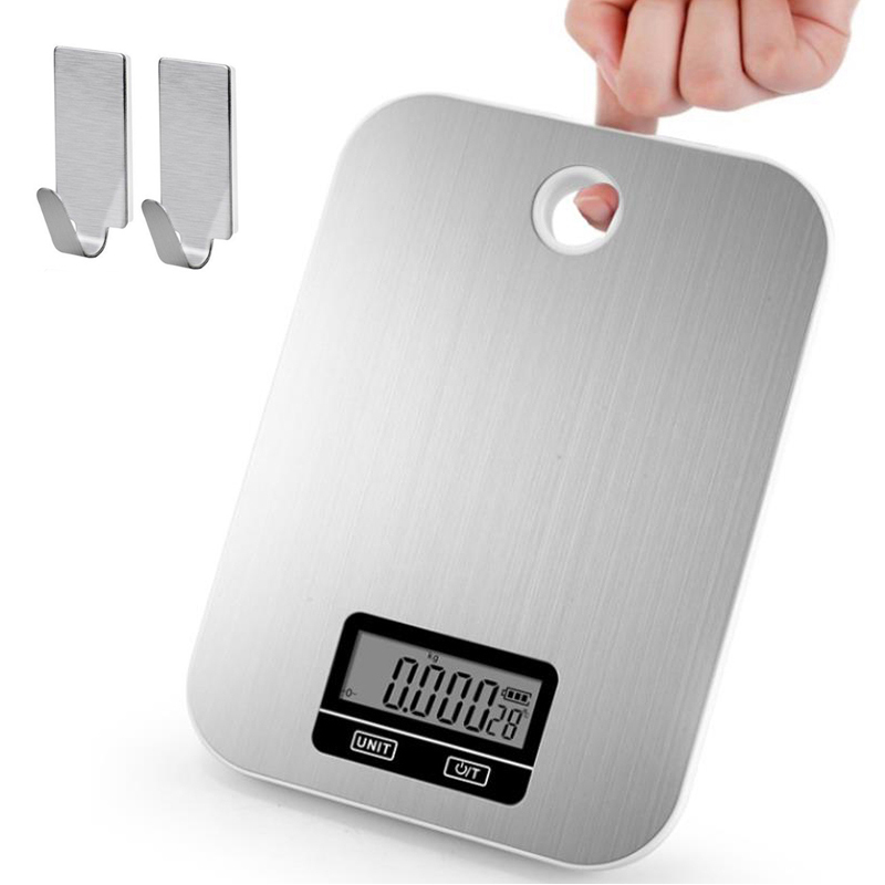 New Digital Kitchen Scale 5Kg/1g Stainless Steel Kitchen Electronic Scales High Accurate Food Baking Weigh Scales With Wall Hook