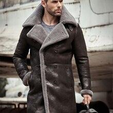 Los hombres de piel de oveja de cuero genuino largo abrigo chaqueta Mans B3 bombardero chaqueta aviador abrigo Trench chaqueta de vuelo