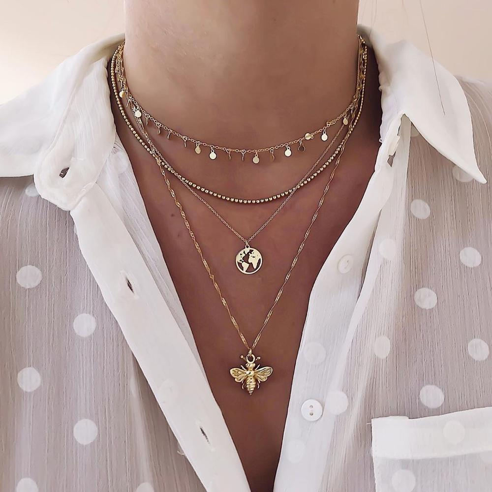 Gold color Choker Necklace for women map bee moon Tassel Pendant Chain Necklaces & Pendants Laces velvet chokers Fashion Jewelry
