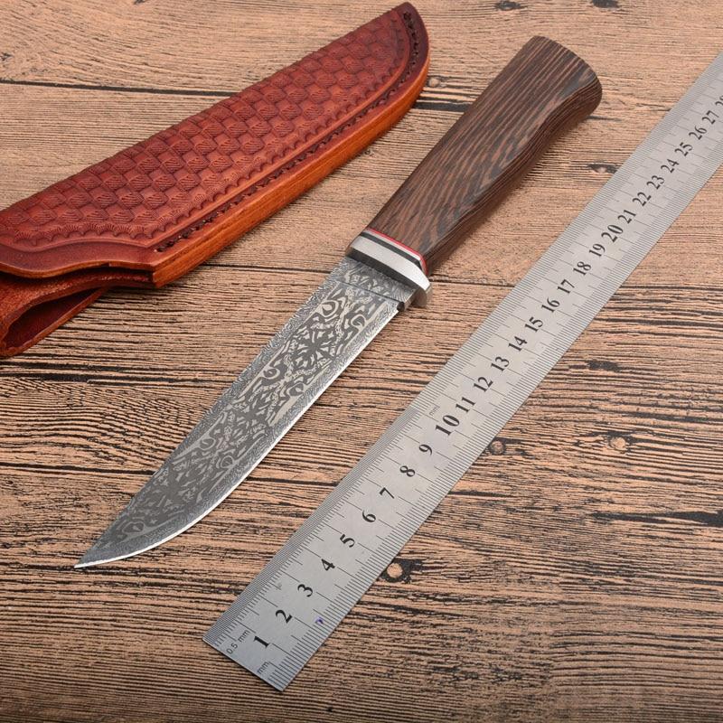 Chaude XL28 G10 + damas acier rond manche en bois couteau de chasse en plein air haute dureté CNC lame droite li cadeaux couteaux en gros