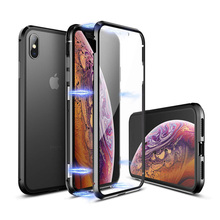 Magnetic Adsorption Metal Case For iPhone XS Max X 8 7 6s 6 Plus Double-Sided Tempered Glass Case For iPhone XR XS 8 7 6 6s 360 full magnetic protection shell for iphone anti peep case metal frame double sided tempered glass for xs max 7 8 x xs xr