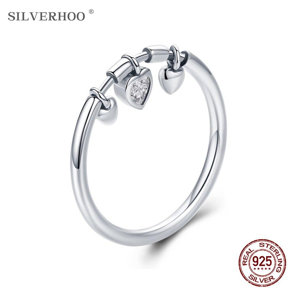 SILVERHOO 925 Sterling Silver Glittering Heart Cubic Zirconia Female Ring Women Wedding Engagement Jewelry Fashion Gifts