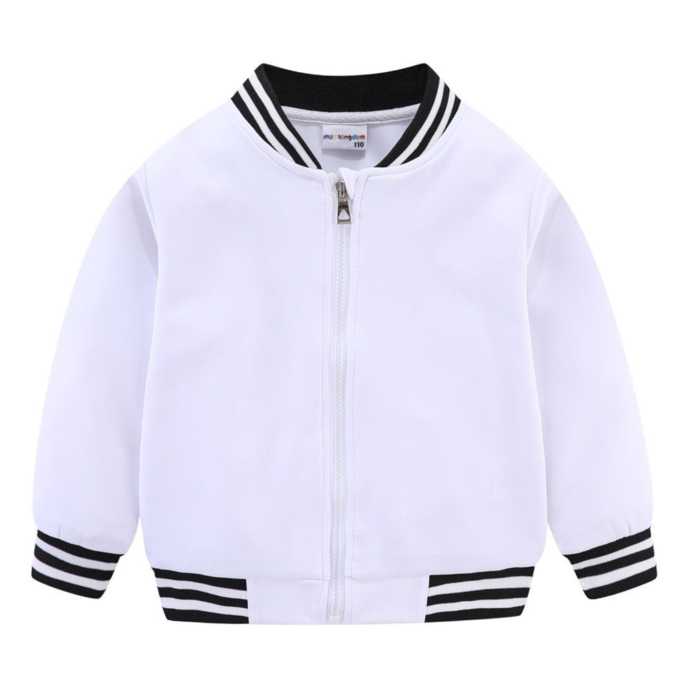 Mudkingdom Girls Boys Baseball Jacket Quick-dry Plain Kids Spring Autumn Clothes Fashion Outerwear Zip Up 5
