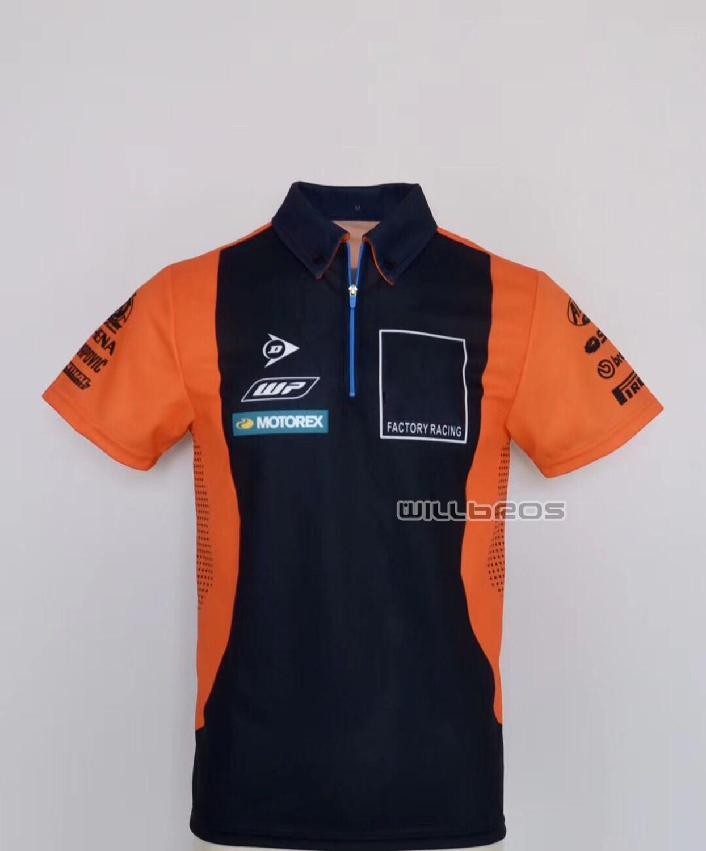 Livraison gratuite à séchage rapide polos pour KTM moto Polo chemise moto Scooter équitation T-shirt noir Orange été Jersey
