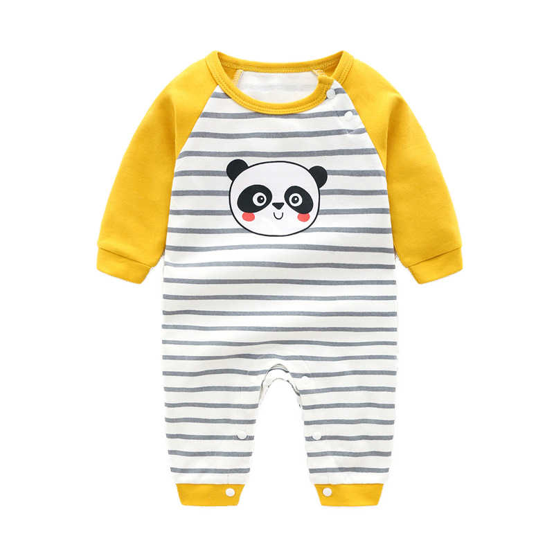 Newborn Baby Rompers Kid Boys Girls Long-Sleeve Cartoon Infant Cotton Jumpsuit Comfortable Toddler Climbing Outerwear Clothes