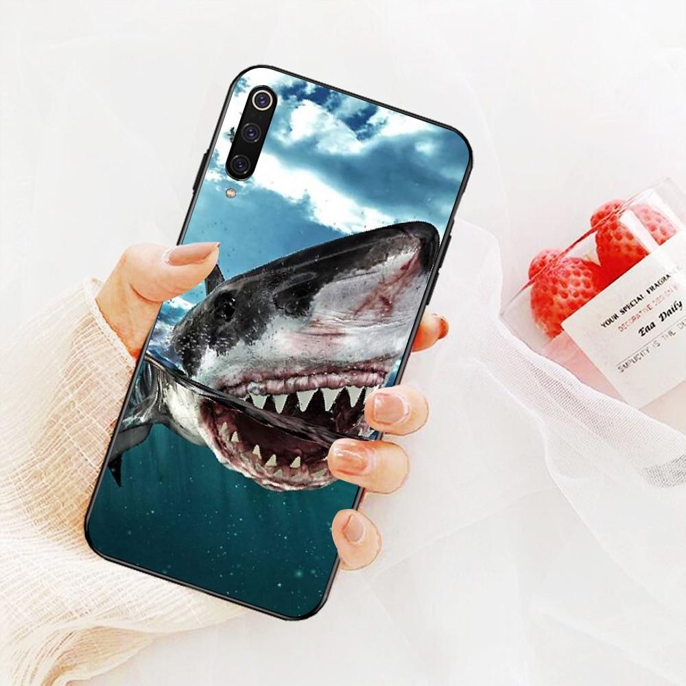 NBDRUICAI ocean Squali Balena pesce Molle Del Silicone Nero Cassa Del Telefono per Xiaomi Mi9 9SE 8SE Pocophone F1 Mi8 Lite