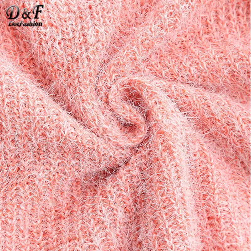 Dotfashion Pink Casual Fuzzy Chunky Knit Sweater Women 2019 Autumn Long Sleeve Sweet Sweaters Ladies Solid Basic Top