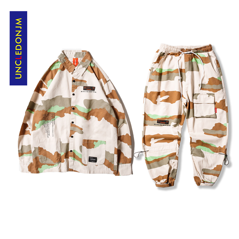 UNCLEDONJM 2 Pieces Sets Men Shirt Tracksuit Men Set Camouflage Pants Streetwear Joggers Pants Mens Clothing Hip Hop DV26-220