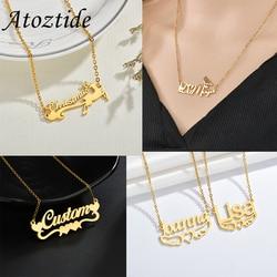 Atoztide personnalisé nom personnalisé colliers pour femmes hommes miroir or cadeaux de noël collier ras du cou pendentif plaque signalétique bijoux
