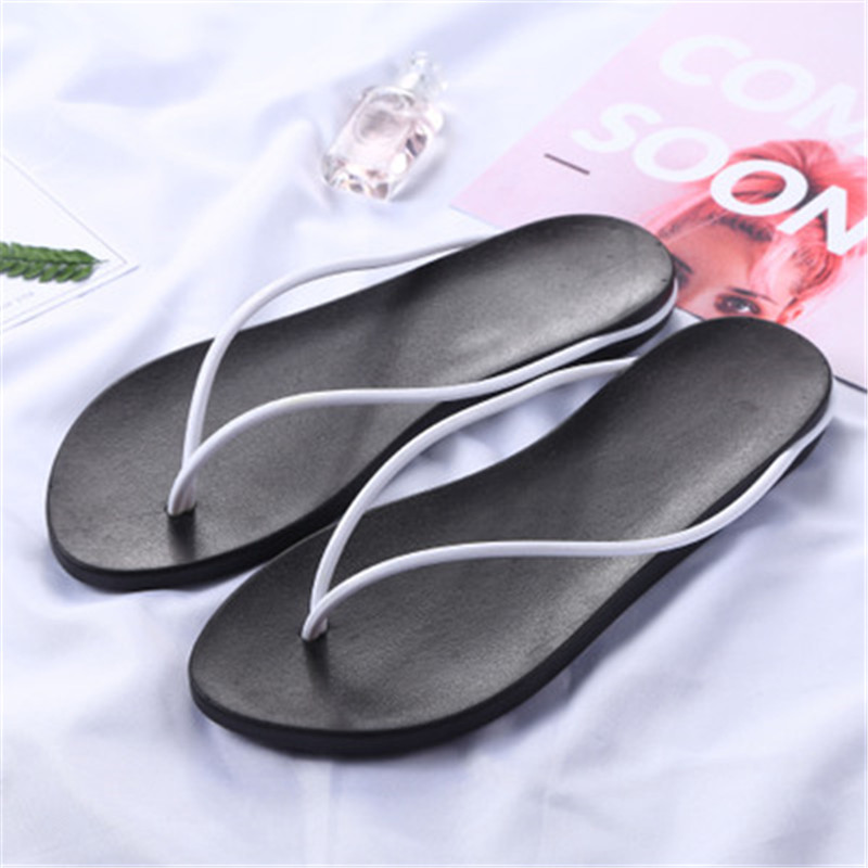 Fashion, women's summer anti skid, simple beach sandals, pine cake flat and summer sandals-in Women's Sandals from Shoes    1