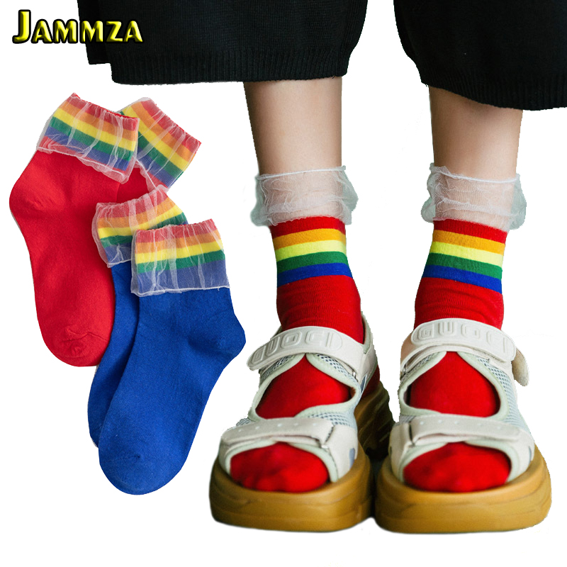 Cotton Solid Rainbow Striped Womens Socks Short Fall Mesh Lace Flanging Design Fashion Korean Style for Ladys Cute Gift